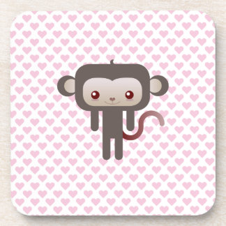 Kawaii monkey beverage coasters