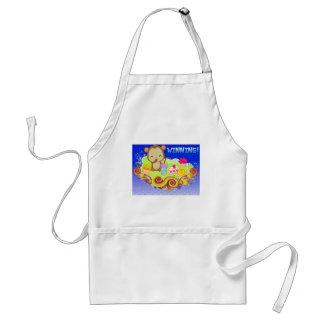 kawaii monkey winning with treats adult apron