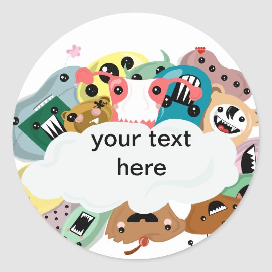 Kawaii Monsters Classic Round Sticker