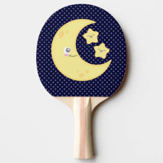 Kawaii Moon and Stars Ping Pong Paddle