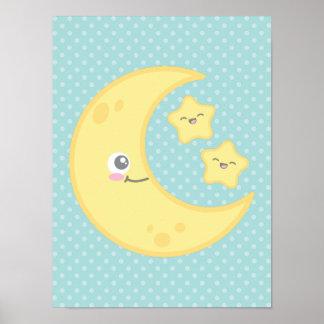 Kawaii Moon and Stars Poster Print