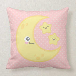 Kawaii Moon and Stars Throw Pillow