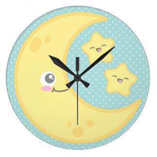 Kawaii Moon and Stars Wall Clock