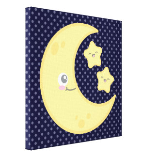 Kawaii Moon and Stars Wrapped Canvas