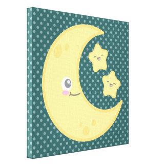 Kawaii Moon and Stars Wrapped Canvas