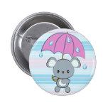 Kawaii Mouse and Umbrella Rainy Days Button