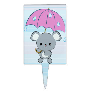 Kawaii Mouse and Umbrella Rainy Days cake topper