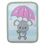 Kawaii Mouse and Umbrella Rainy Days iPad Sleeve