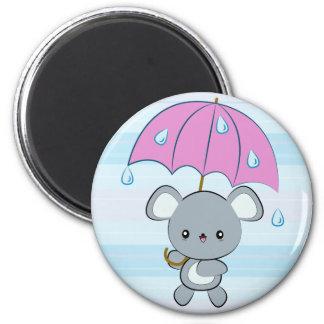 Kawaii Mouse and Umbrella Rainy Days magnet