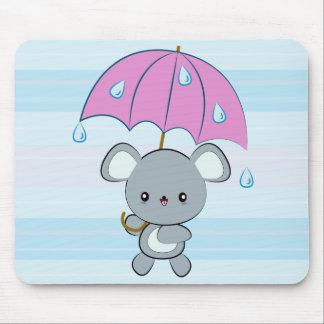 Kawaii Mouse and Umbrella Rainy Days Mousepad