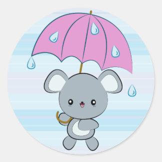 Kawaii Mouse and Umbrella Rainy Days Stickers