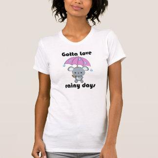 Kawaii Mouse and Umbrella Rainy Days T-shirt