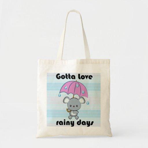 Kawaii Mouse and Umbrella Rainy Days tote bag