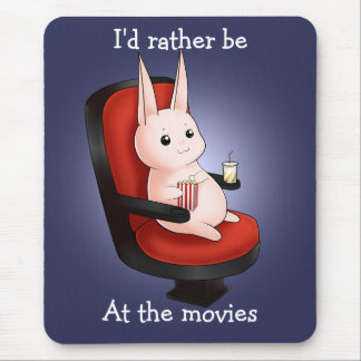 Kawaii movie theater bunny rabbit mouse pad