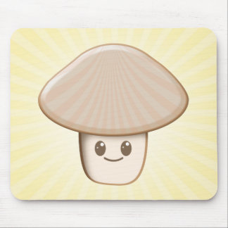 Kawaii Mushroom Cartoon in Neutrals Mouse Pad