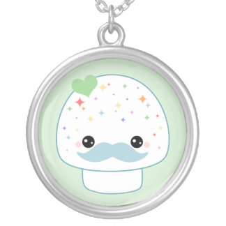 Kawaii Mushroom with Mustache Silver Plated Necklace