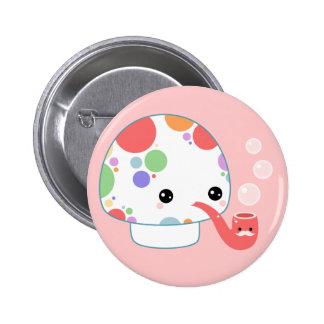 Kawaii Mushroom with Pipe Pinback Button