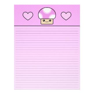 Kawaii Mushy Puffs Pink Mushroom Lined Letterhead