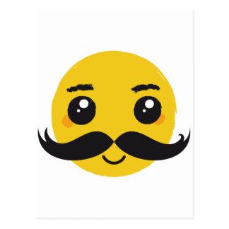 Kawaii Mustache Smiling Postcard