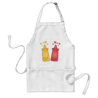 Kawaii Mustard and Ketchup Love Adult Apron