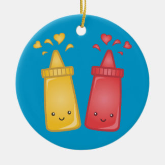 Kawaii Mustard and Ketchup Love Double-Sided Ceramic Round Christmas Ornament