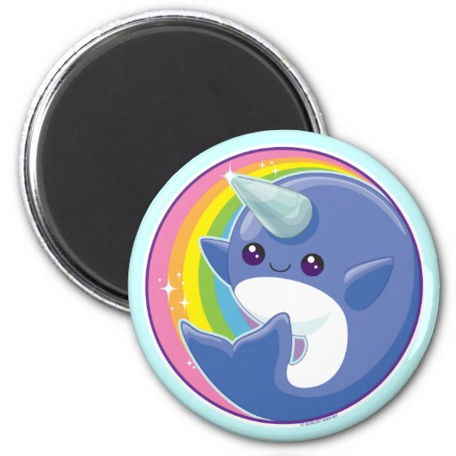 Kawaii Narwhal 2 Inch Round Magnet