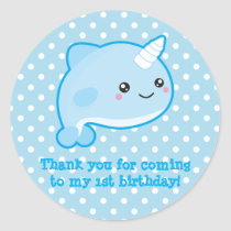 Kawaii Narwhal Classic Round Sticker