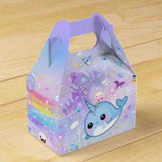 Kawaii narwhal in the dreamy kingdom favor box