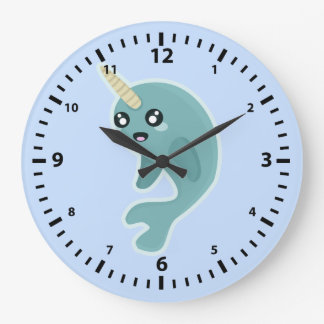 Kawaii Narwhal Large Clock