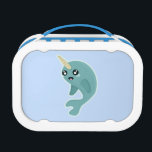 """Kawaii Narwhal Lunch Box<br><div class=""""desc"""">Drawing of happy Kawaii narwhal made by Nir P</div>"""