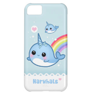 Kawaii narwhals with rainbow iPhone 5C cover