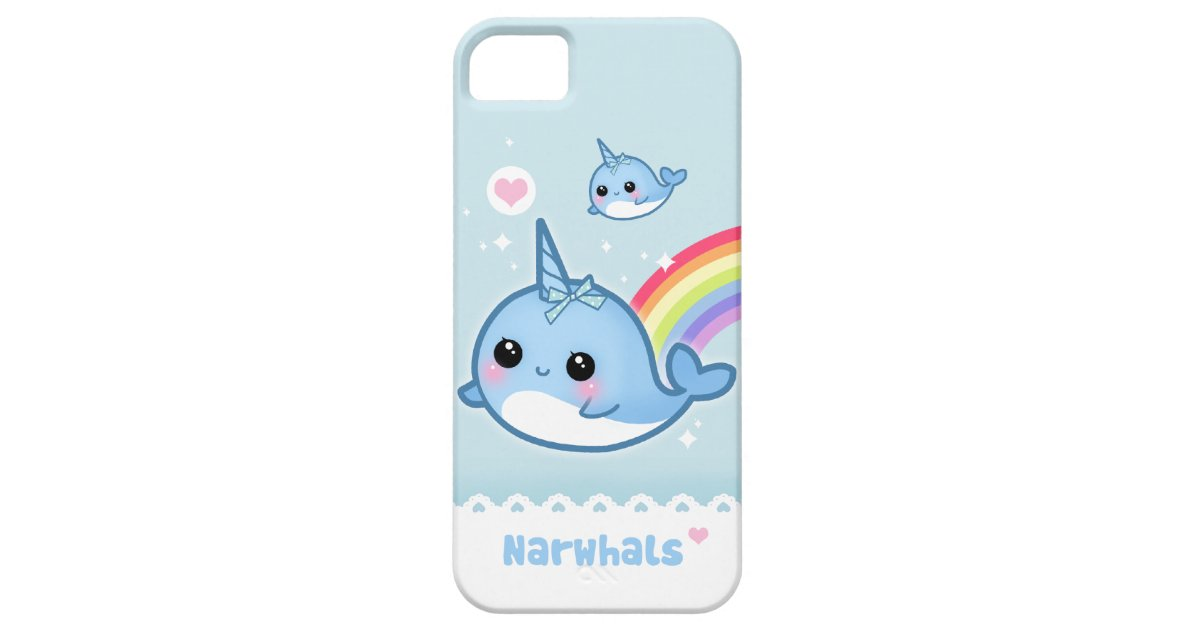 Kawaii narwhals with rainbow iPhone SE/5/5s case