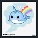 """Kawaii narwhals with rainbow wall sticker<br><div class=""""desc"""">Make your wall super kawaii with this narwhal and rainbow.</div>"""