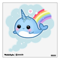 Kawaii narwhals with rainbow wall sticker