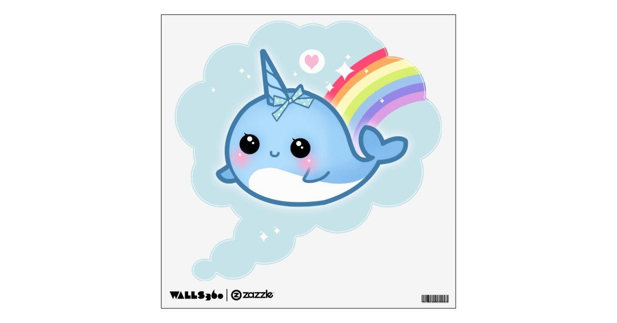 Kawaii Narwhals With Rainbow Wall Sticker Zazzle