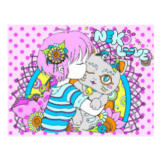 Kawaii neko cat flower manga postcard