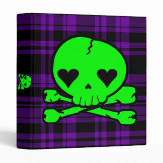 Kawaii Neon Green Skull on Purple Plaid Binder