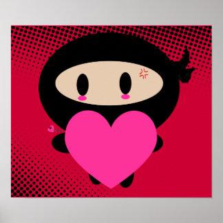 Kawaii Ninja Heart Print