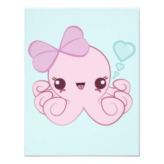 "Kawaii Octopus Invitations 4.25"" X 5.5"" Invitation Card"