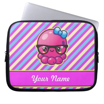 Beach Themed Kawaii Octopus with Glasses and Diagonal Stripes Computer Sleeve