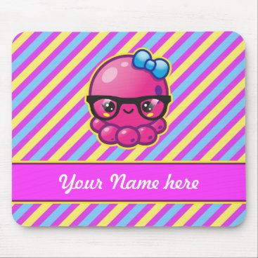 Beach Themed Kawaii Octopus with Glasses and Diagonal Stripes Mouse Pad