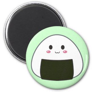 """Kawaii """"Onigiri"""" Rice Ball 2 Inch Round Magnet"""