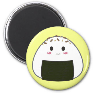 """Kawaii """"Onigiri"""" Rice Ball with Toppings 2 Inch Round Magnet"""