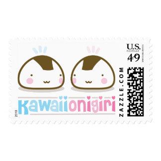 kawaii onigiris postage stamps