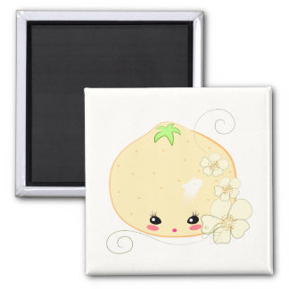 Kawaii Orange 2 Inch Square Magnet
