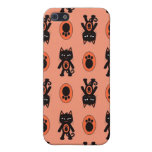 Kawaii Orange Cat and Paw Print Pattern iPhone 5 Cover