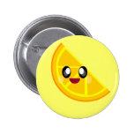 kawaii orange slice happy face cute! buttons