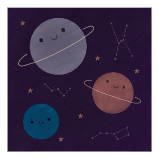 Kawaii Outer Space Poster