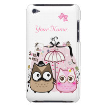 Kawaii owl couple - personalized iPod touch case