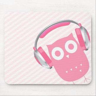 Kawaii Owl w/Headphones Mouse Pad